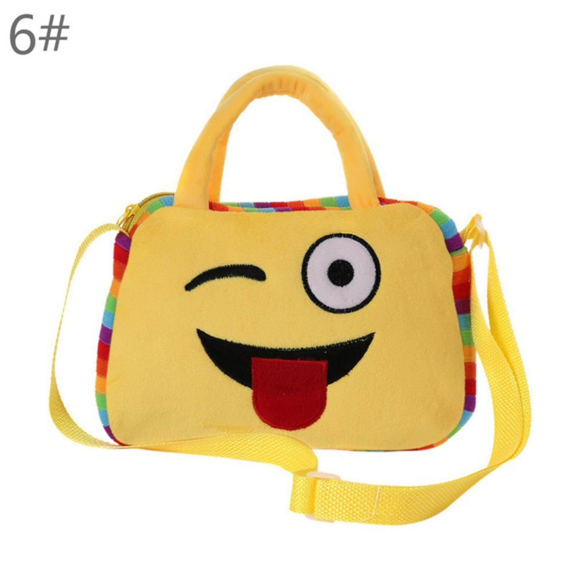 Giá bán Emoji Face Expression Plush Toy Children Backpacks Shoulder School Bag Handbag type:6 - intl