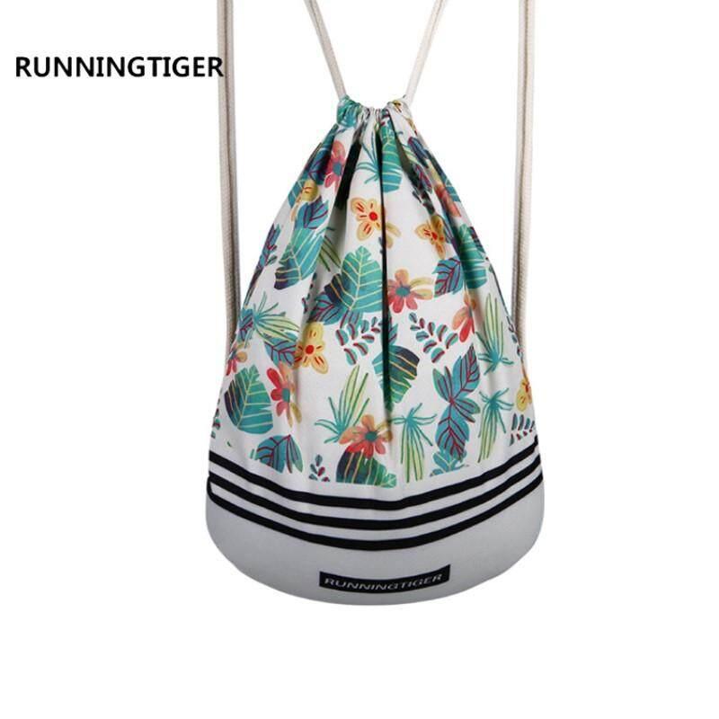 RUNNINGTIGER Women Casual Drawstring Backpack Leaves Printed Canvas Men  Travel Beach Bag Girls Fresh Schoolbag - 4db1bc62d0401