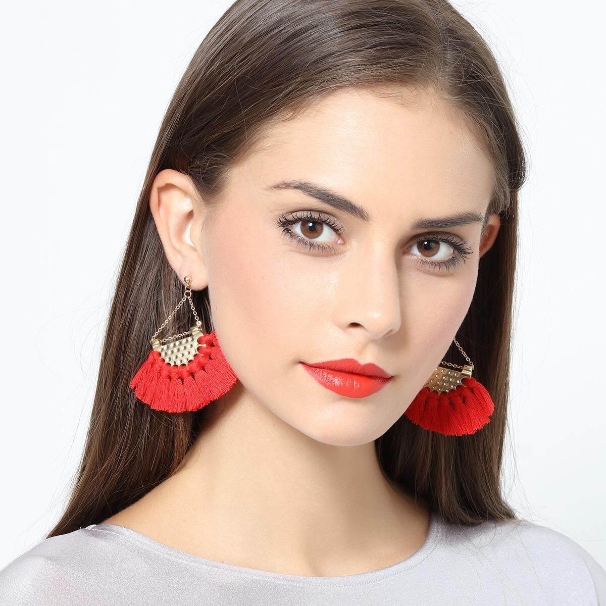 Wanita Bohemia Tassels Dangle Anting-Anting Berongga Penggemar Berbentuk Jatuh Ethnic Perhiasan 2018 Musim Semi Musim Panas Musim Gugur Musim Dingin Pesta Pakar Perempuan Anting -Internasional