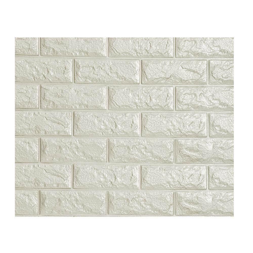 huohu 3D Wall Stickers, DIY Self Adhesive Foam 3D Soft Brick Wallpaper Noiseproof Wallpaper White Brick Pattern Wall Stickers For Kids Bedroom Living Room TV Background-(1PC 60 X 60CM) - intl
