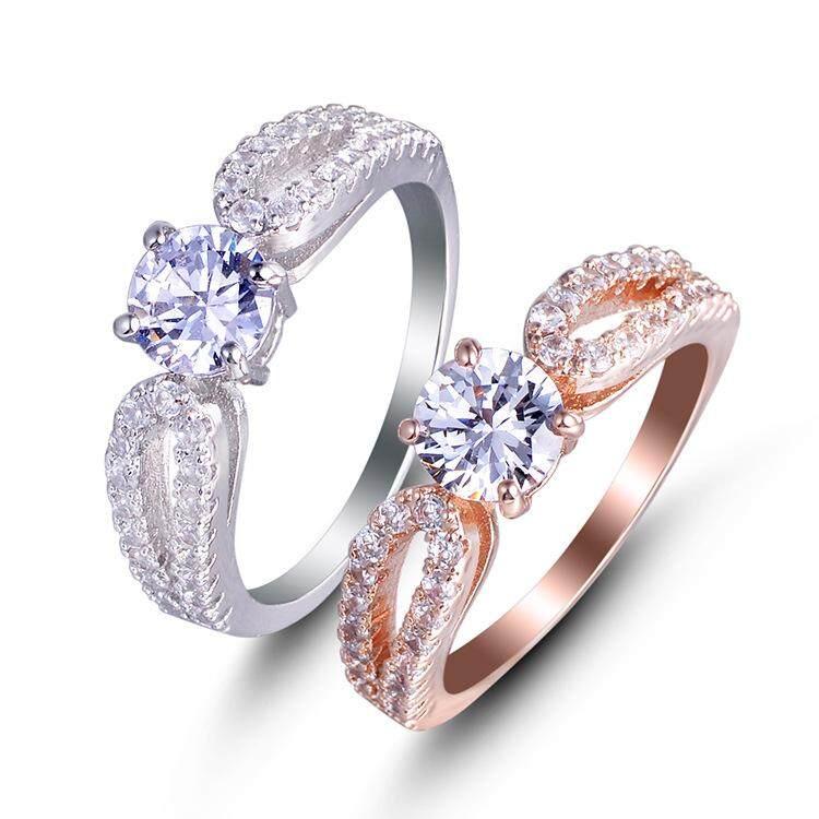 Modis Ladys Simulasi Zirkon Berkilau Kristal Berlian Imitasi Batu Topas Pernikahan Cincin YH158-Internasional