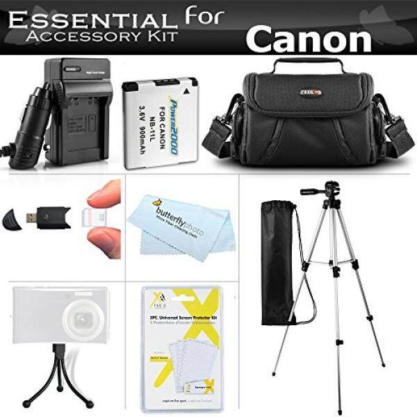 ALMM Essential Accessories Kit For Canon Powershot SX400 IS, SX410 IS, SX420 IS Digital Camera Includes Replacement (900maH) NB-11L + AC/DC Charger + Case + 50