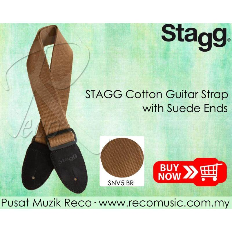 Stagg SNV5-BR Cotton Woven Adjustable Guitar Strap with Suede Ends Brown Malaysia