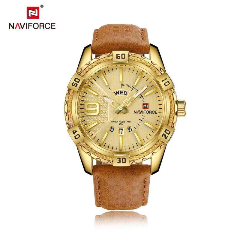 NAVIFORCE Luxury Brand Men Genuine Leather Sport Watches Casual Round Dial Watch Gold Malaysia