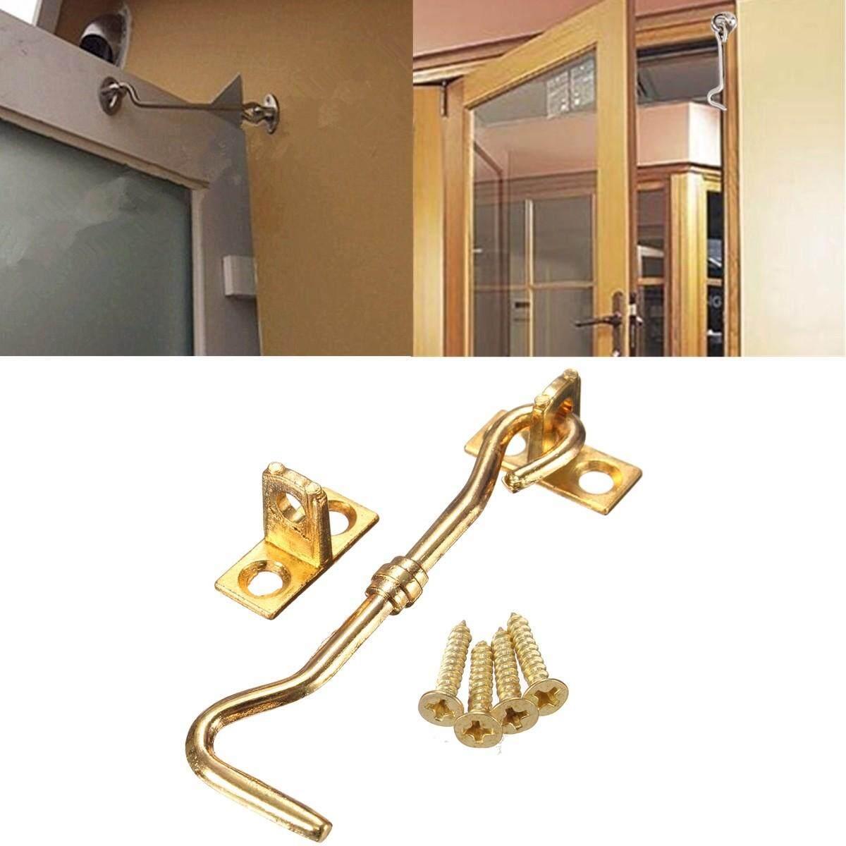 50pcs 3 Cabinet Door Showcase Holder Window Latch Hook & Eye Wind-Proof Silent Lock Gold - intl