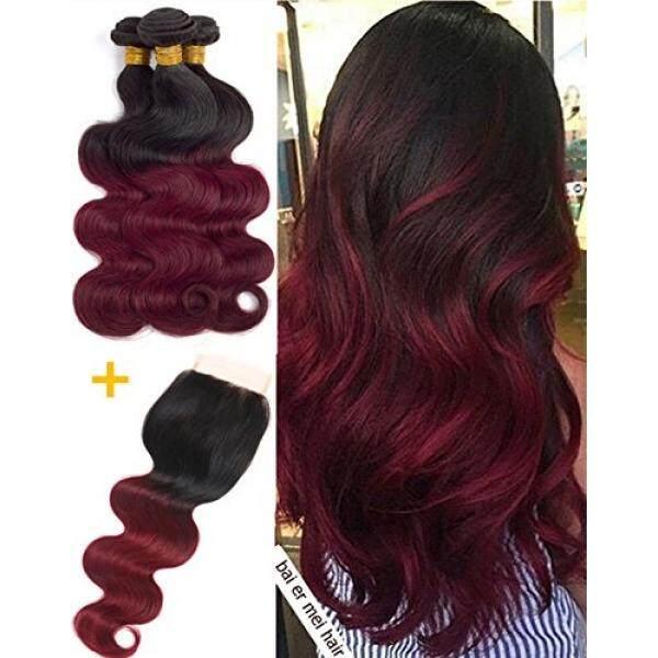 T1B/99J Merah Ombre 3 Bundel dengan Renda Penutupan Bebas Bagian Brazilian Badan Wave Rambut Burdy Menenun Ombre Human rambut Dua Suara Bundel Penutupan dengan Rambut Bayi Dapat Dikeriting Bouncy (16 18 20 + Closure14) -Internasional