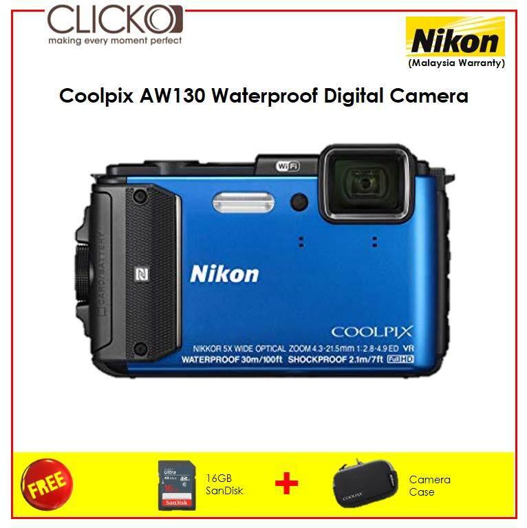 Nikon Coolpix AW130 Waterproof Digital Camera Blue + 16GB SD Card + Camera Case ( Nikon Malaysia Warranty )