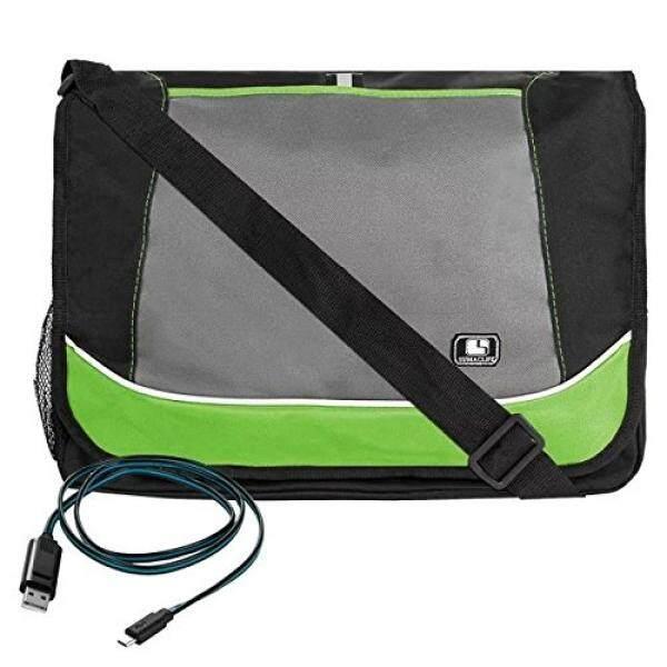 Hijau Sumaclife Profesional Briefcase Kurir Bahu Tas UNTUK ACER Aspire Satu Cloudbook 14 Inch + Kabel Usb Mikro -Internasional