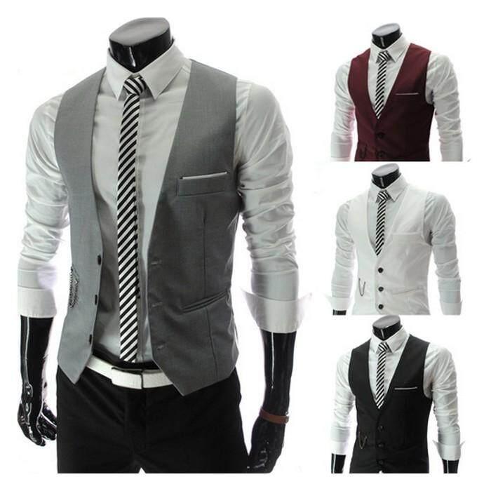 (Pre Order ETA End Feb 2021 CNY Break)(Pre Order ETA 14/2) Korean Style Men Vest Coat Collection 196-4238 (White)