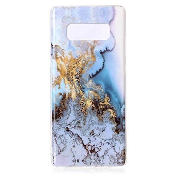 Galaksi Note 8 Case, pola Marmer Berkilau Ramping Keras Silikon Belakang Case Sarung Cocok untuk Samsung Galaksi Note 8 (Laut Biru) -Internasional