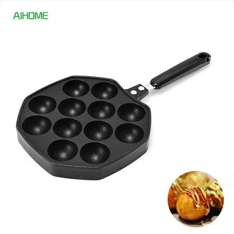 12/16 Cavities Aluminum Takoyaki Pan Nonstick Octopus Balls Baking Pan Takoyaki Maker Kitchen Cooking Tools - Intl By She Love.