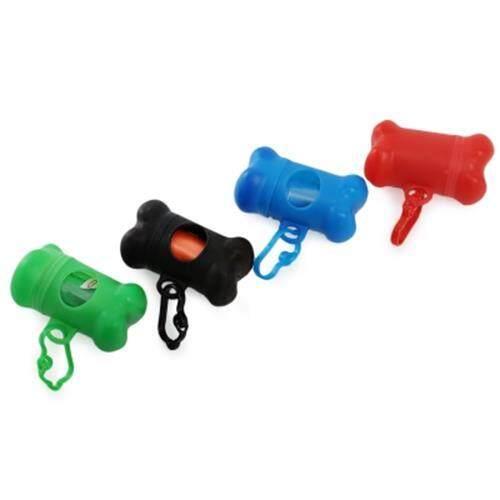 BONE SHAPE POOP BAG HOLDER CASE WITH CARABINER CLIP (BLUE)
