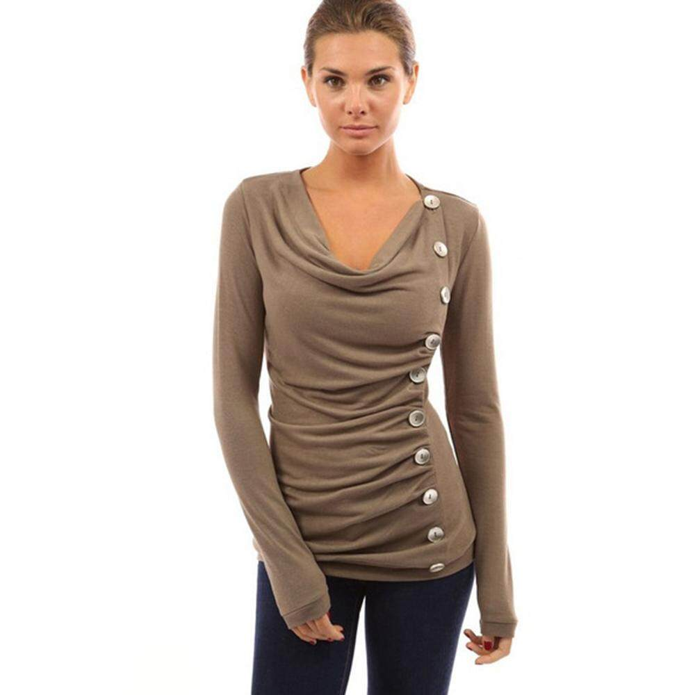 25df970be2f New Fashion Women Slim Single-breasted Basic T-shirt Long Sleeve Autumn  Pure Color