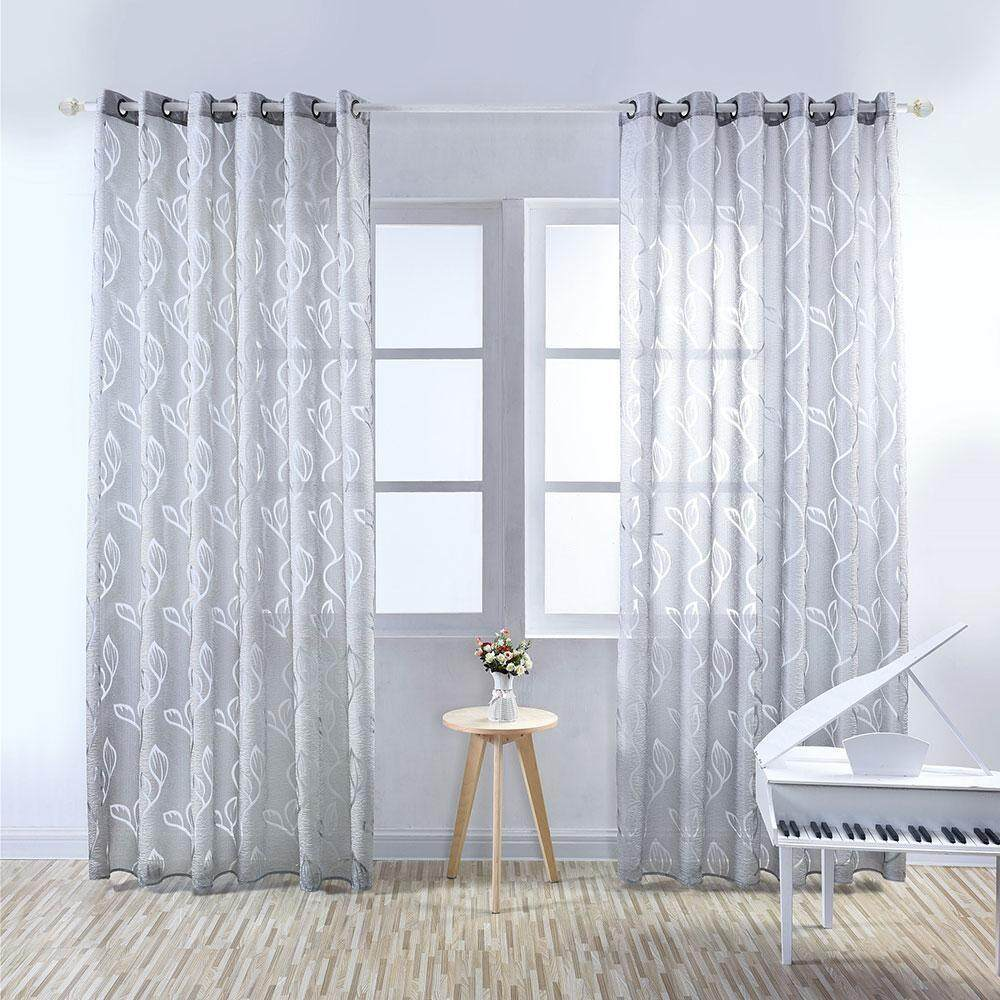 yugos Concise Style Pure Color Leaves Door Window Curtain Panel Drapes Sheer Valances Tulle Curtains Window Treatments Bedroom Sheer Curtain,100*250cm