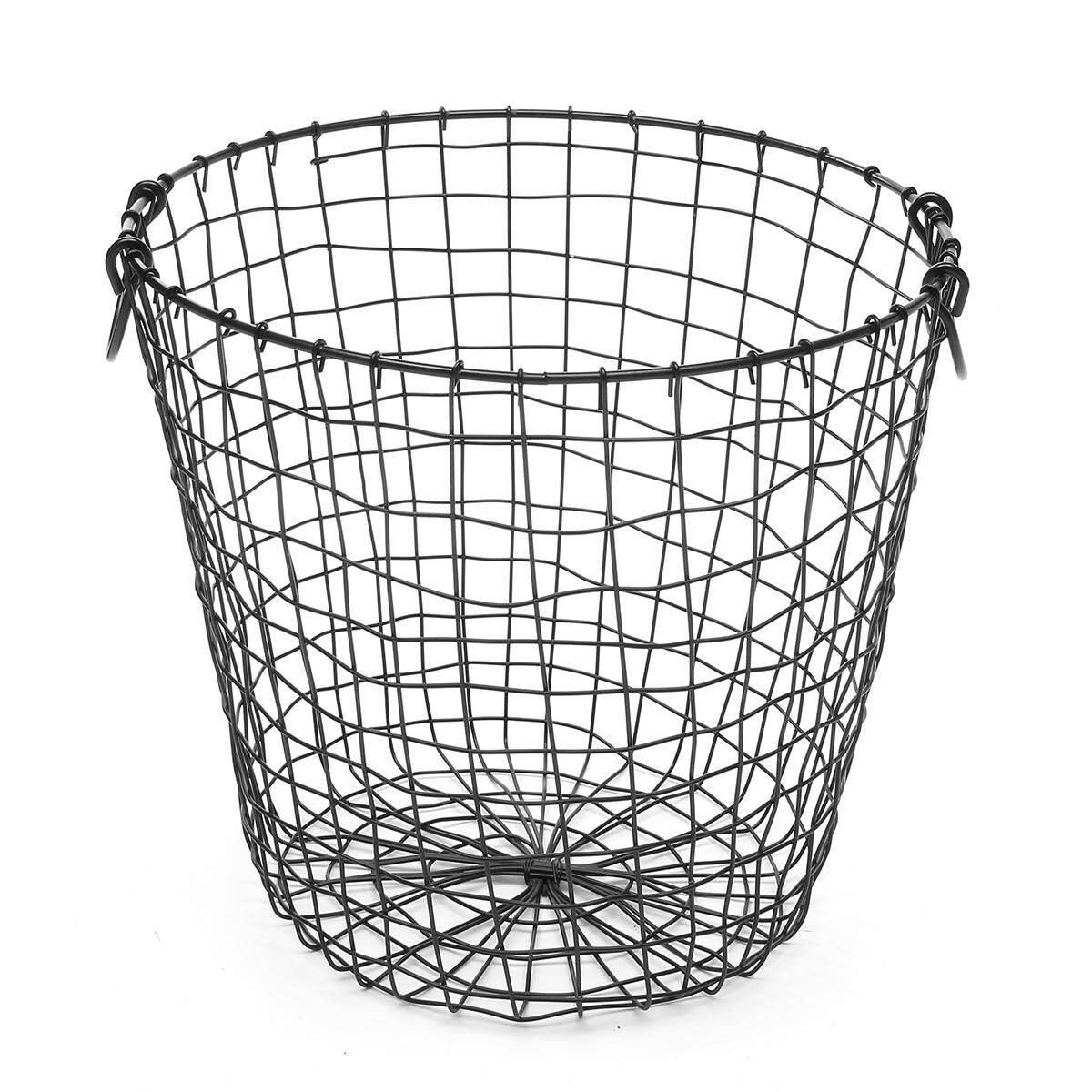 Metal Wire Basket Storage Waste Paper Bin Storage Rustic Industrial Home Gift(black) By Moonbeam.