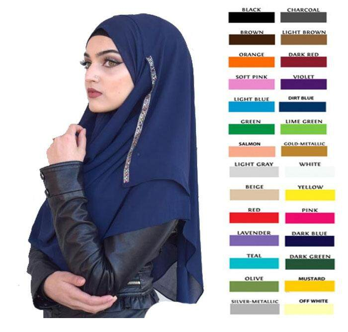 Instant shawl hijab with side flip glitter - kristy