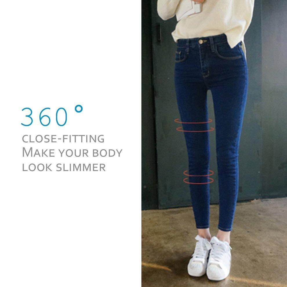 ... Pants Ankle Source · Korean Style Students Nine Points Jeans Female High Waisted Jeans Worn Out