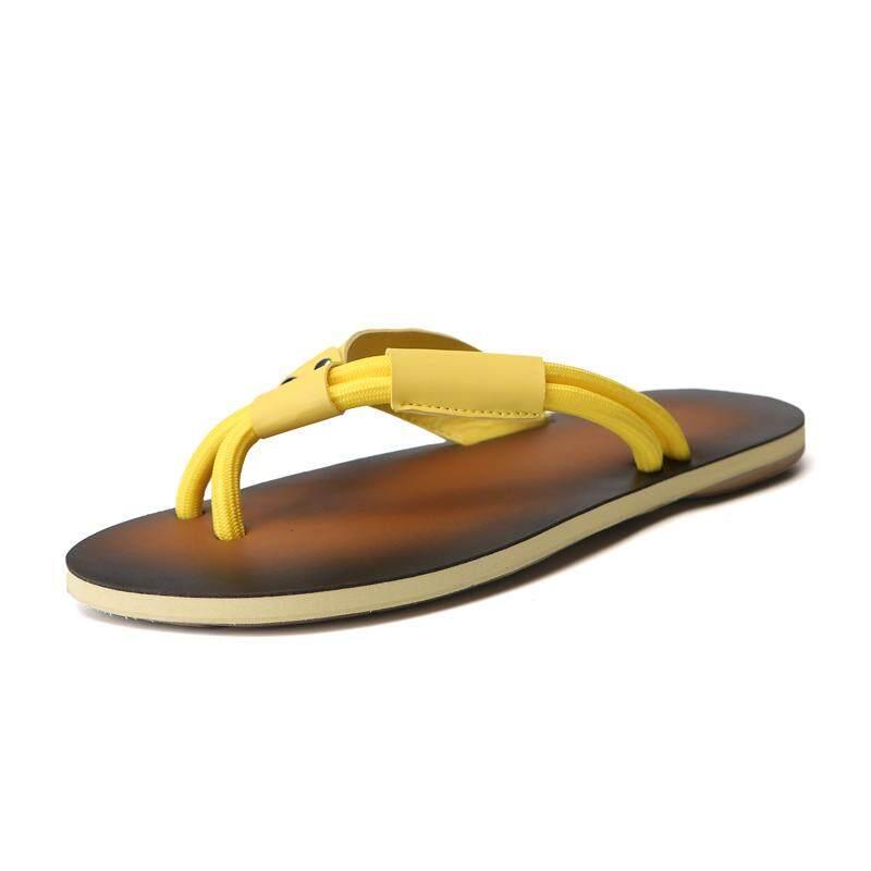 Kailijie Pria Musim Panas Kulit Elastis Sandal Jepit Tali Sandal Pantai Sepatu