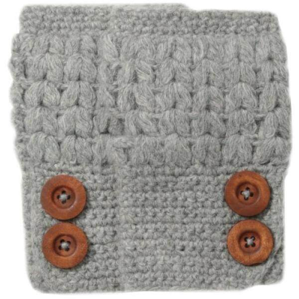 San Diego Hat Company Womens Knit Fingerless Glove with Wood Buttons, Grey, One Size - intl