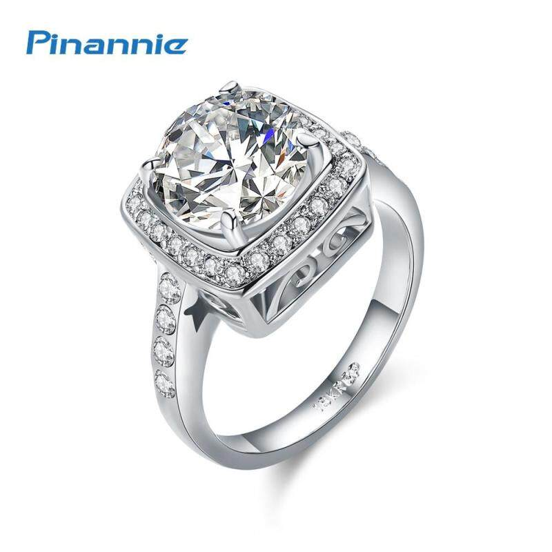 Pinannie Prong Setting Champagne Gold Color Wedding Rings Jewellery for Women