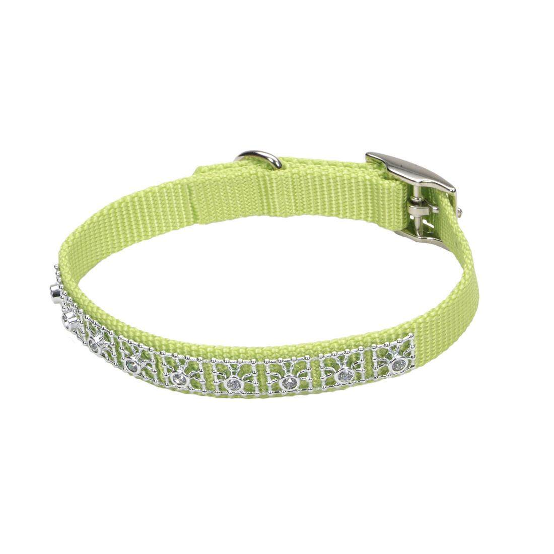 "[Coastal] Nylon Jeweled Dog Collar 5/8"" - Neon Pink"