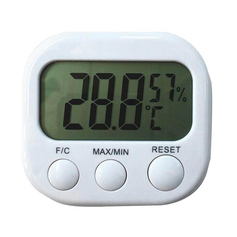 1 PC Digital LCD Termometer Higrometer Elektronik Pengukur Temperatur Kelembapan Cuaca Indoor Jam Alarm Tester