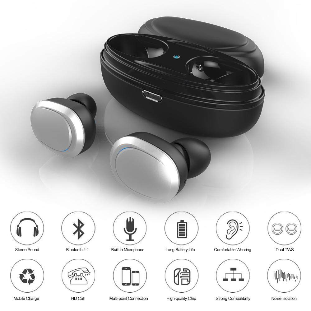T12 Dual TWS True Wireless Bluetooth Headphones In-ear Stereo Music Headsets Invisible Earphone Hands
