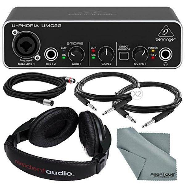Behringer U-PHORIA UMC22 2in2out USB Audio Interface and Accessory Bundle w/ Headphones + Xpix 1/4