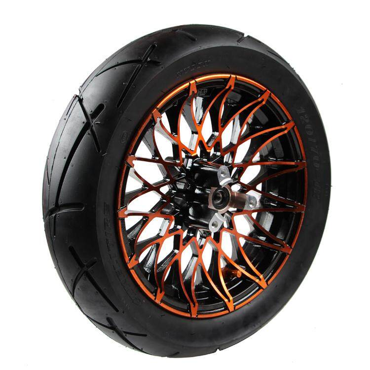 Motorcycle/electric Vehicle Modification 120/70-12 New Chrysanthemum Wheel 12 Inch Front Wheel (red Wheel +120 Tires) - Intl By Bestcheerful.