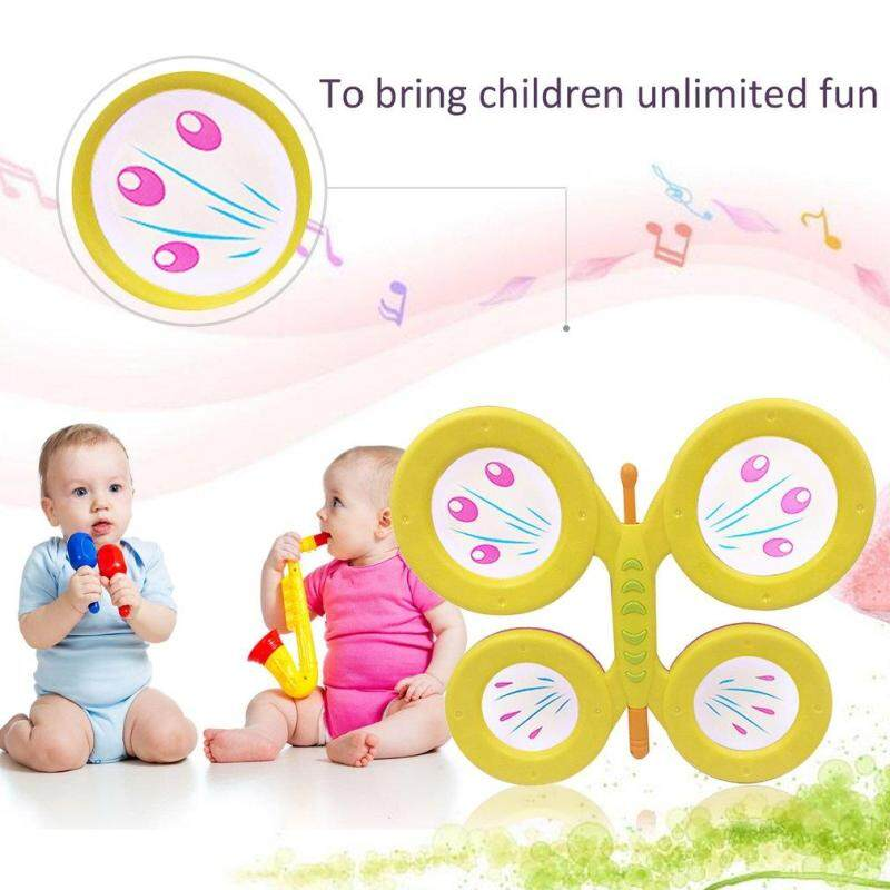 GOFT Orffworld Butterfly Drum Plastic Cartoon Drum Kids Musical Instrument Toy