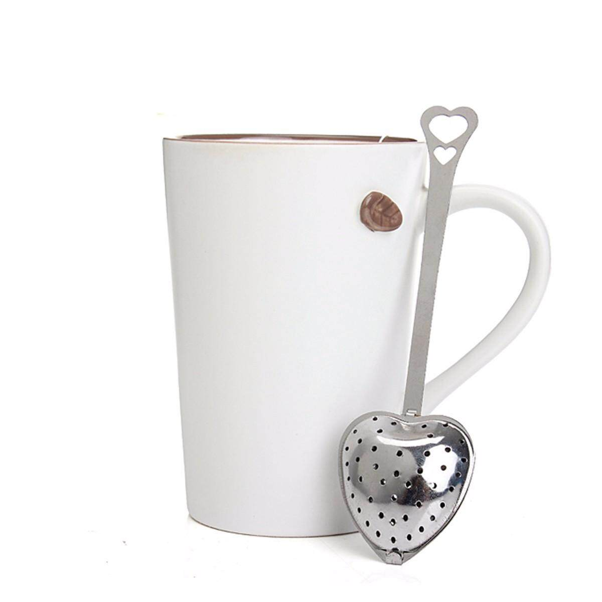 1/2pcs Stainless Steel Heart Shaped Tea Infuser Spoon Strainer Steeper Filter