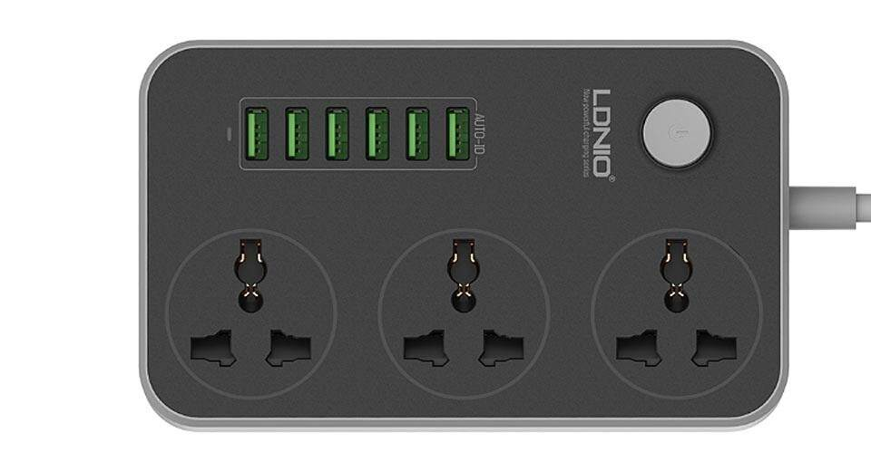 LDNIO SC3604 3.4A Power Socket with 3 AC + 6 USB Charger Adapter 2500W 10A 1.8 Meter UK/Euro /US/CN Plug