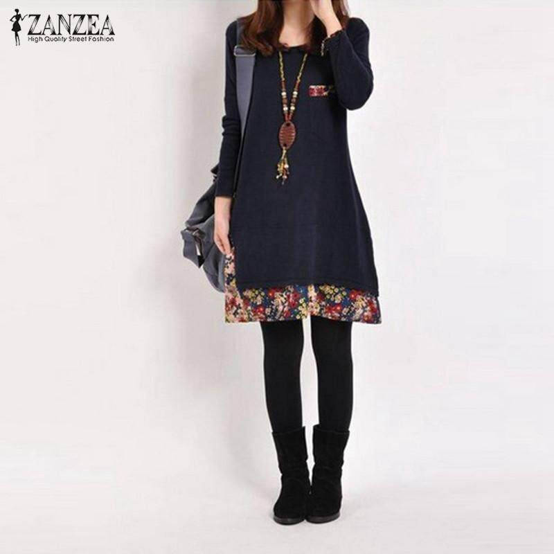 ZANZEA Spring Women Cotton Linen Dress Autumn Vintage Hem Print Dress Casual O Neck Long Sleeve Dress Robe Vestidos Plus Size Navy