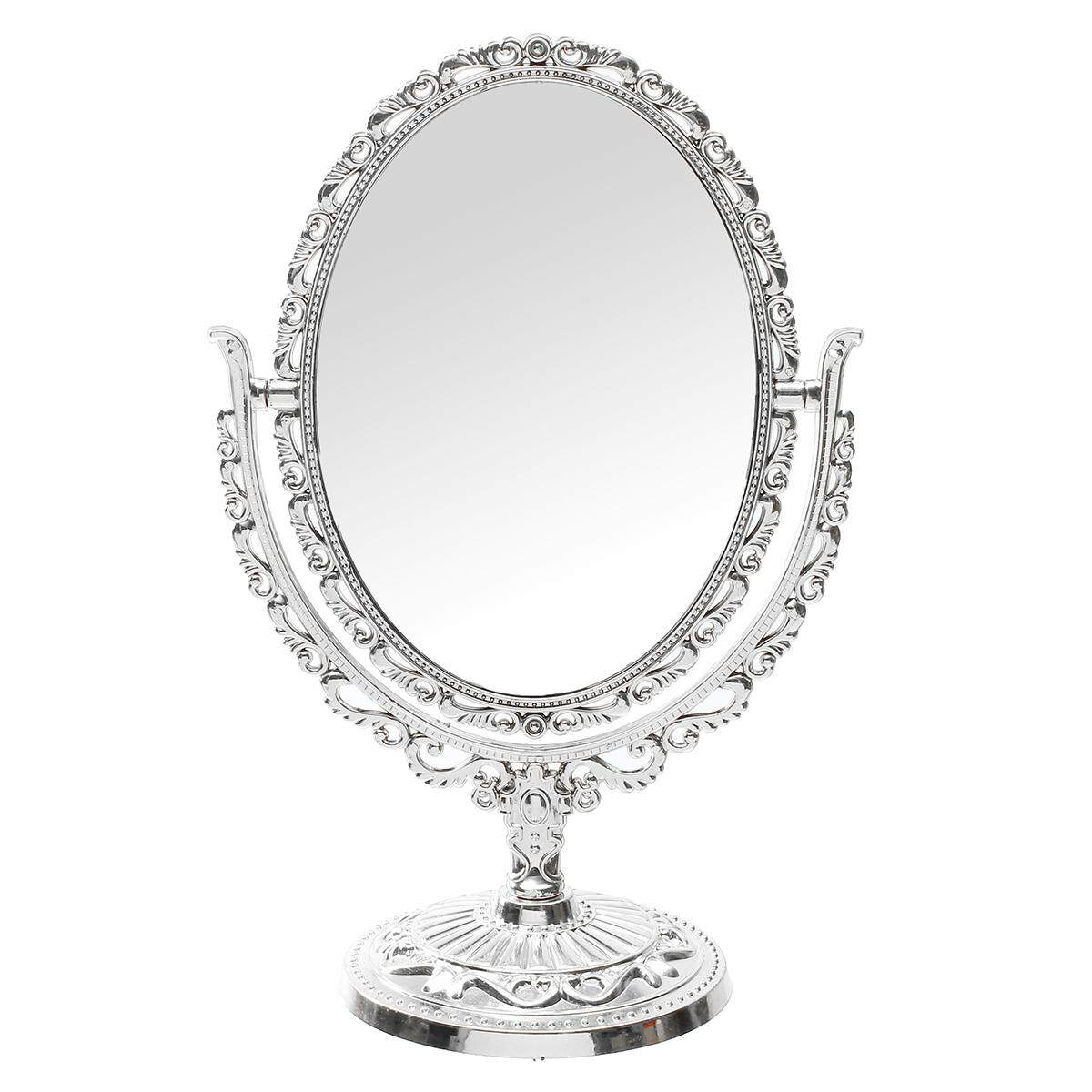 Vanity Mirror Oval Shape 31cm Silver Vintage Handheld Table Top Makeup Mirror(silver) By Glimmer.