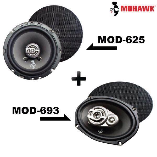 """2in1 Package - MOHAWK DIAMOND MOD-625 6.5"""" 2-Way Coaxial Speaker + MOD-693 6""""x9"""" 3-Way Mid Bass Speaker Set"""