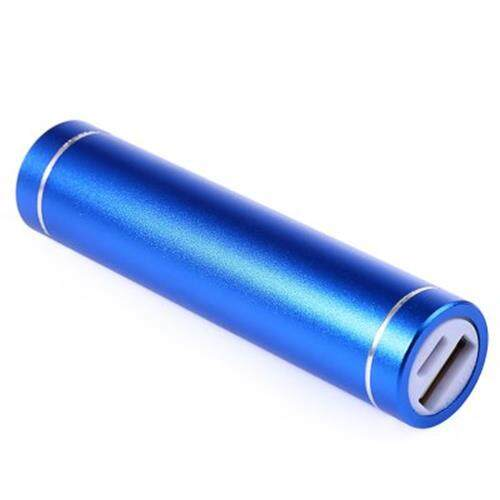 2600MAH METAL CYLINDER PORTABLE CHARGER POWER BANK MOBILE EXTERNAL BATTERY (BLUE)