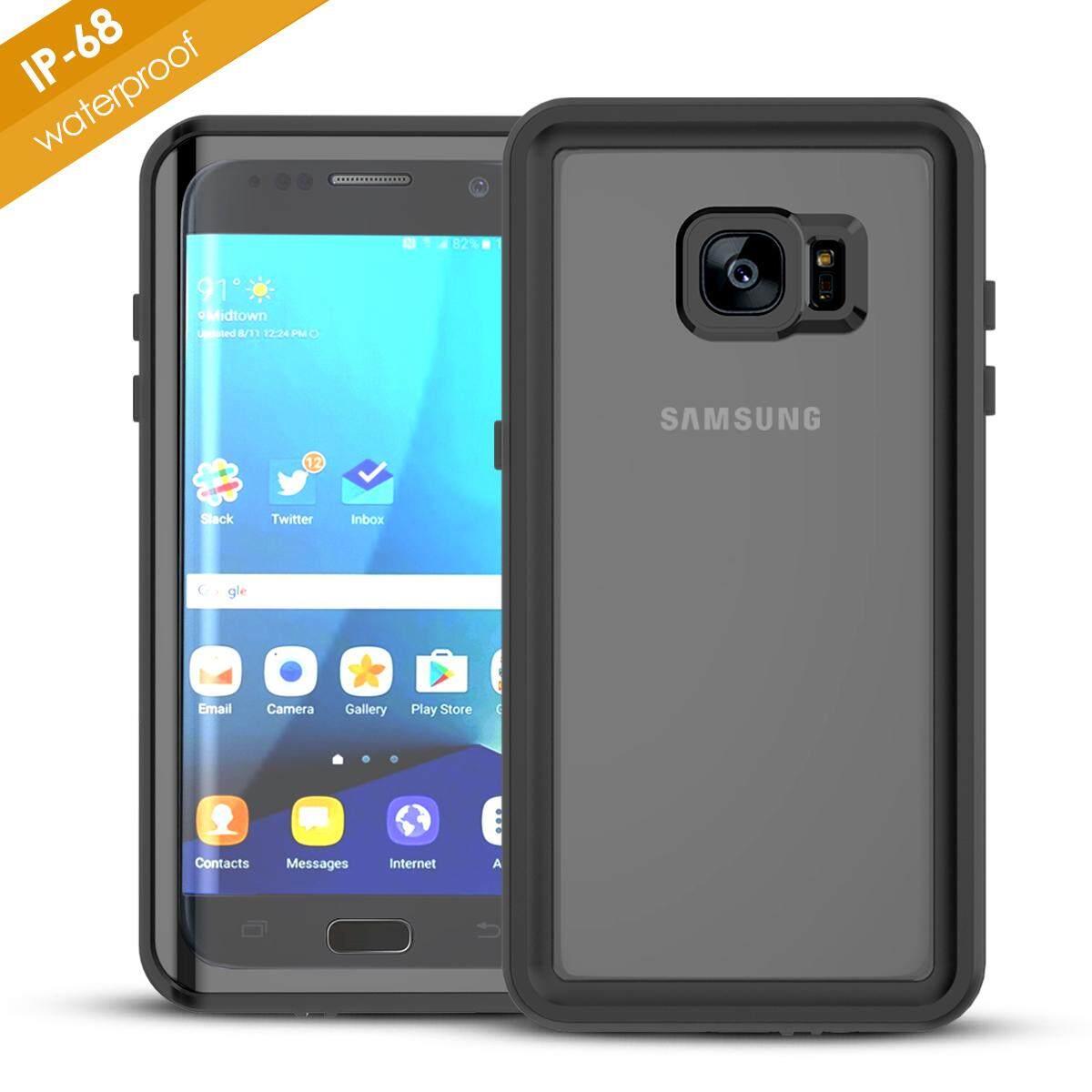 Gambar Produk Rinci Moonmini For Samsung Galaxy S7 Edge Ultra-slim 360 Degree Protection Case Waterproof Dustproof Shell (Black) - intl Terkini