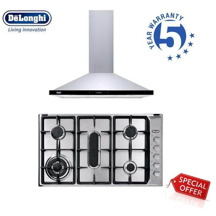 DeLonghi DH-8043 Stainless Steel Hood with LCD Touch Control + IL 519 AFGD DX Stainless Steel Hob with 5 Bunners