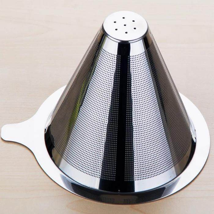 Sale 1Pc Double Layer Stainless Steel Drip Coffee Filter Reusable No Paper Filter For Hario V60 Chemex Intl China Cheap