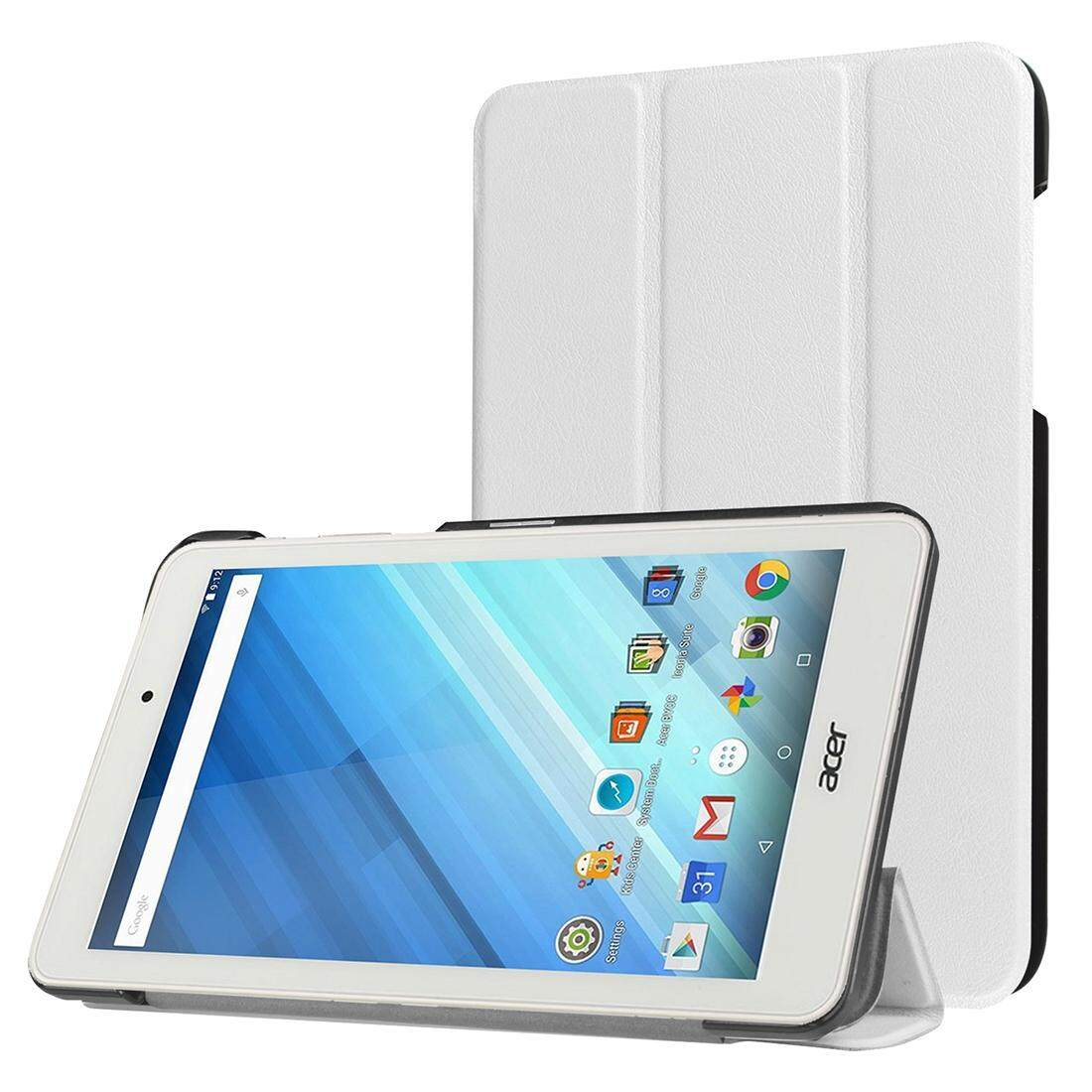 For Acer Iconia One 8 / B1-850 Custer Texture Horizontal Flip Solid Color Leather Case with Three-folding Holder(White)