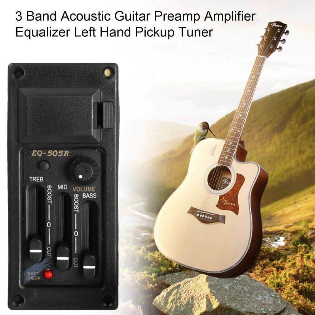 3 Tali Kontrol Volume Gitar Akustik Preamp Amplifier Equalizer Tangan Kiri Pickup Tuner 6.5 Mm Keluaran dengan 2.5 Mm Steker hitam-Internasional