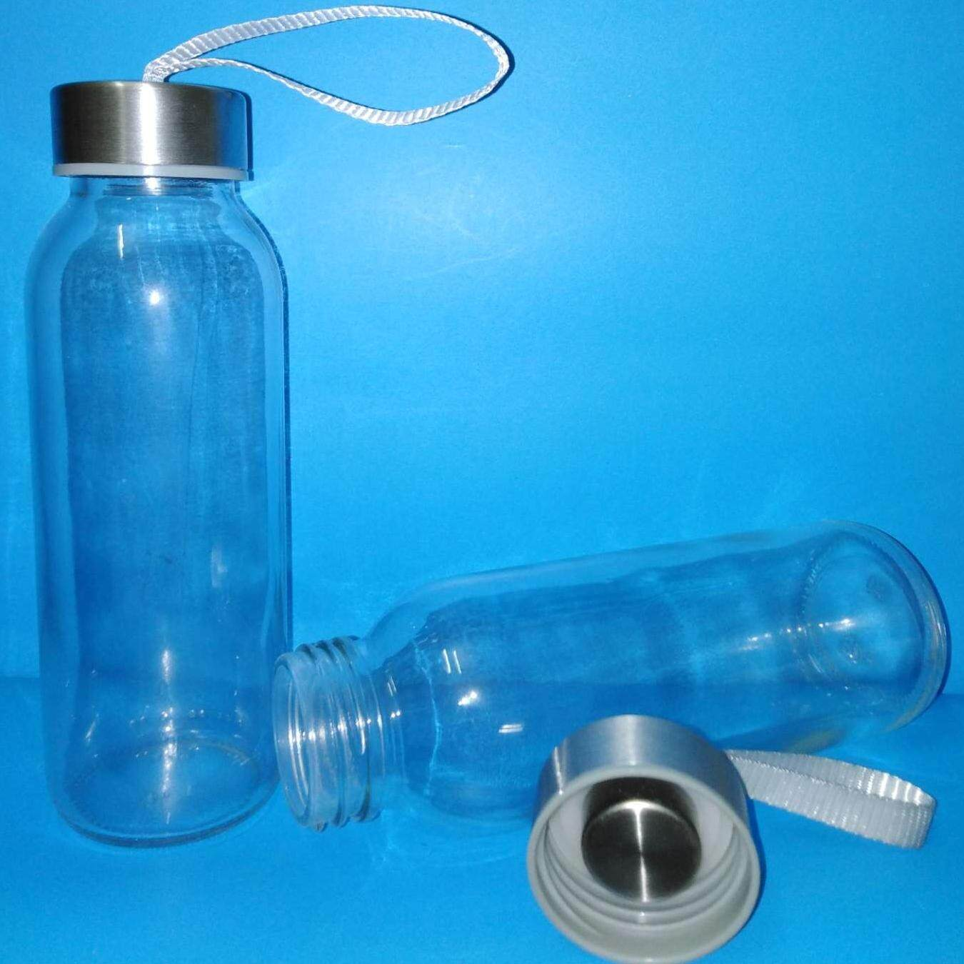2pc of 300ml glass water bottle with stainless metal cap