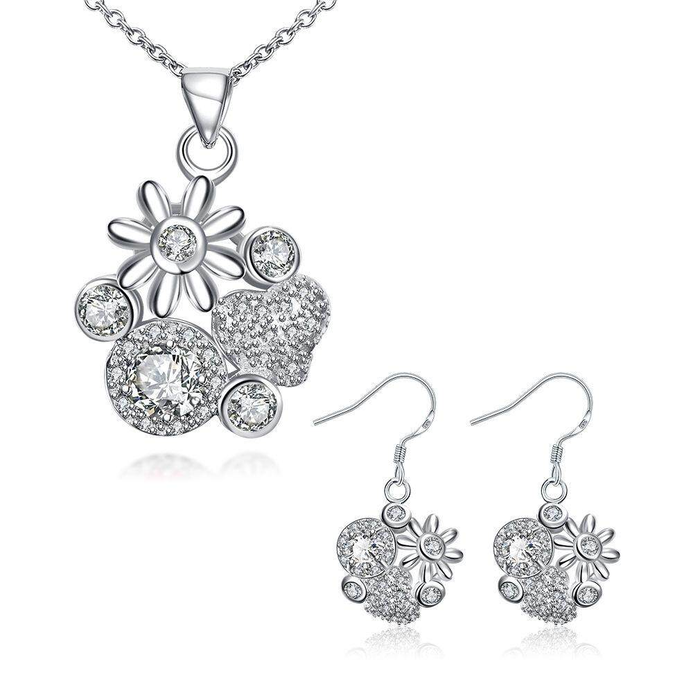 Free Shipping Fashion Women popular 925 silver plated jewelry sets for sale (White)