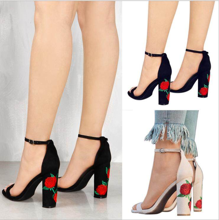 Foreign Trade Hot Style Suede Embroidery Co Heel And High Heeled Sandal Women S Shoes