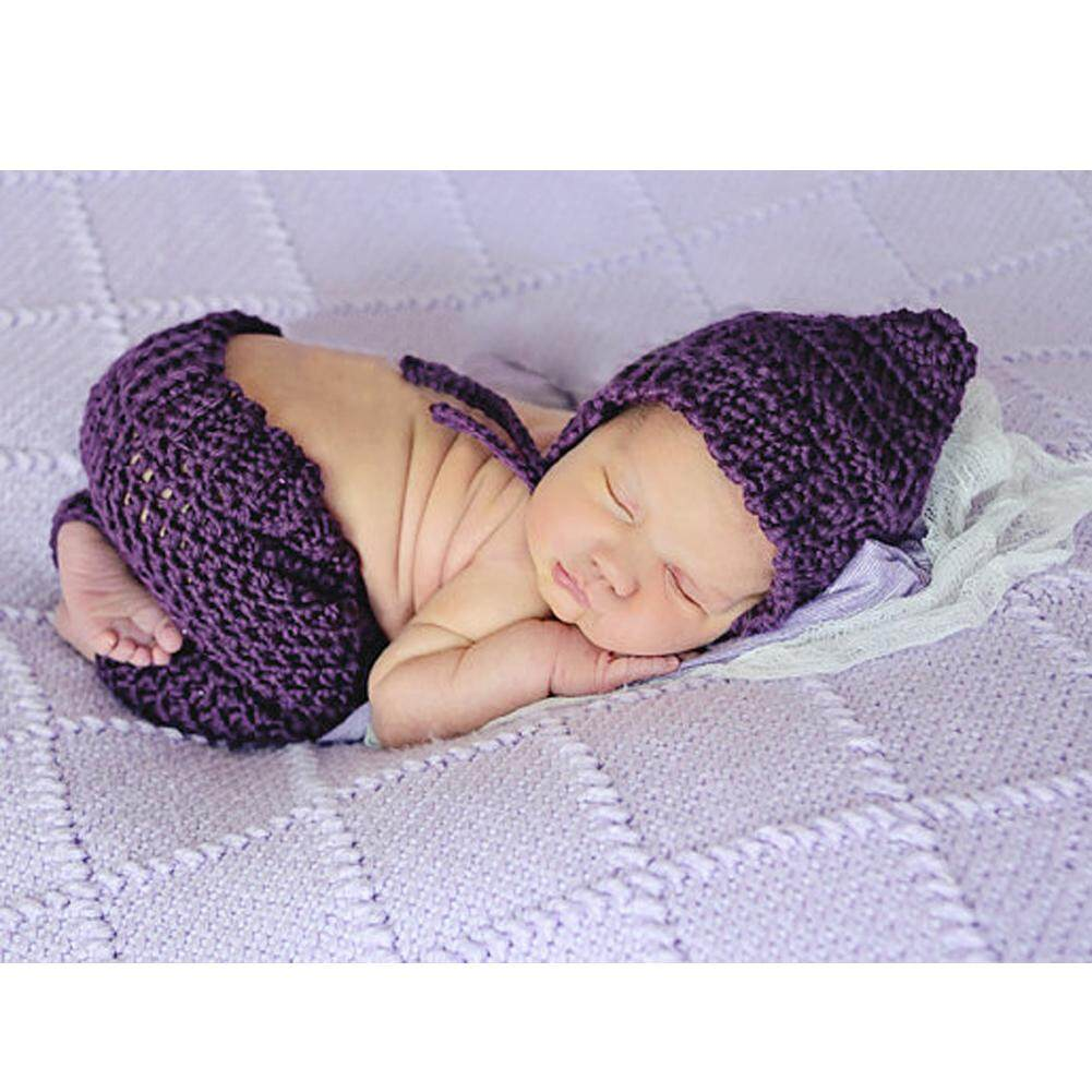 ba27778a0 New Design Baby Newborn Photography Props Handmade Purple Knit Crochet  Costume Striped Hat And Pants For
