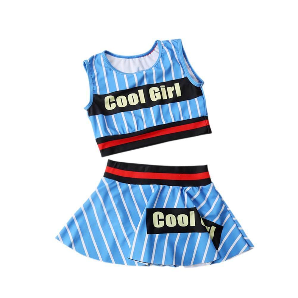2 Pcs/set Children Girl Naval Style Stripe Swimsuit Set Short Tops + Short Skirt.
