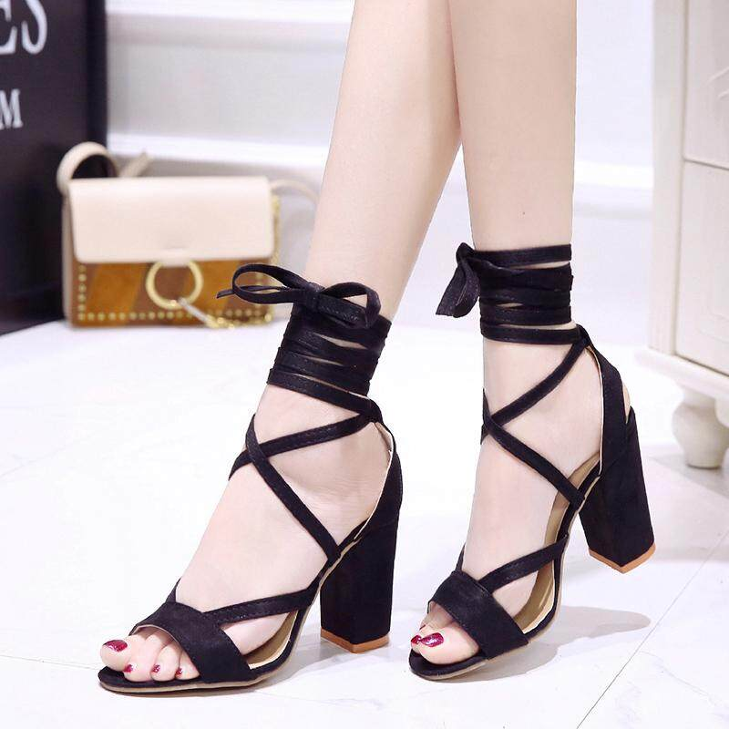 Top 10 Women Summer High Heel Sandals Fish Mouth Nightclub Shoes Black Intl