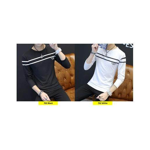 (Pre Order ETA 14/2) Men Korean Style Long Sleeve Shirt Collection 306-T02 (Black)(ETA: 2021-12-31)