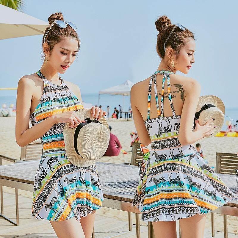 8e7700b408 HK Mall Swimsuits One-piece Swimwear Women Swimming Suit Bathing Suit Dress  Cute Zebra Spa