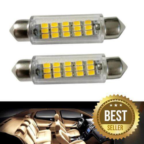 2PCS Festoon 43MM 15LEDS 2835 SMD DC12V LED Auto Car Lamp Decorative Reading Light (SILVER)